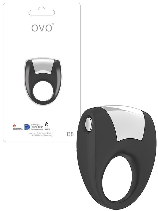 Эрекционное кольцо Ovo B8 с вибрацией  черный