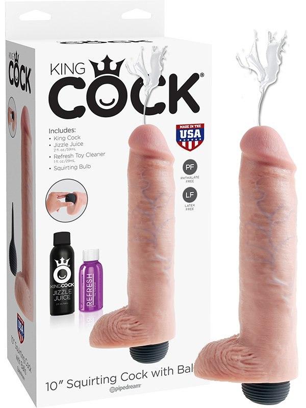 Фаллоимитатор 10 Squirting Cock with Balls с эффектом семяизвержения  телесный (Pipedream, США)