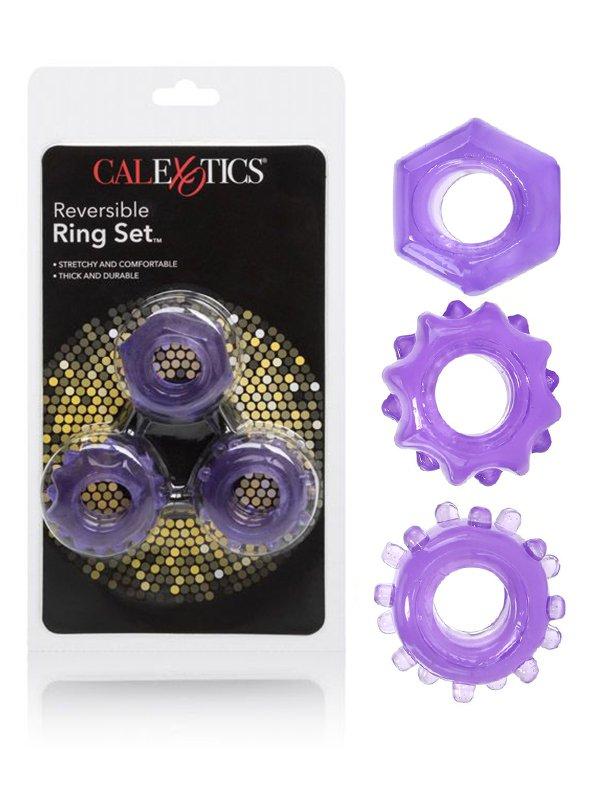 Набор плотных двухсторонних колец для поддержания эрекции Reversible Ring Set – фиолетовый