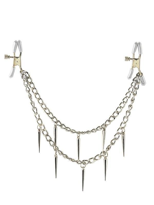 Зажимы на соски Rock Hard Nipple Clamps с двойной цепочкой - серебристый