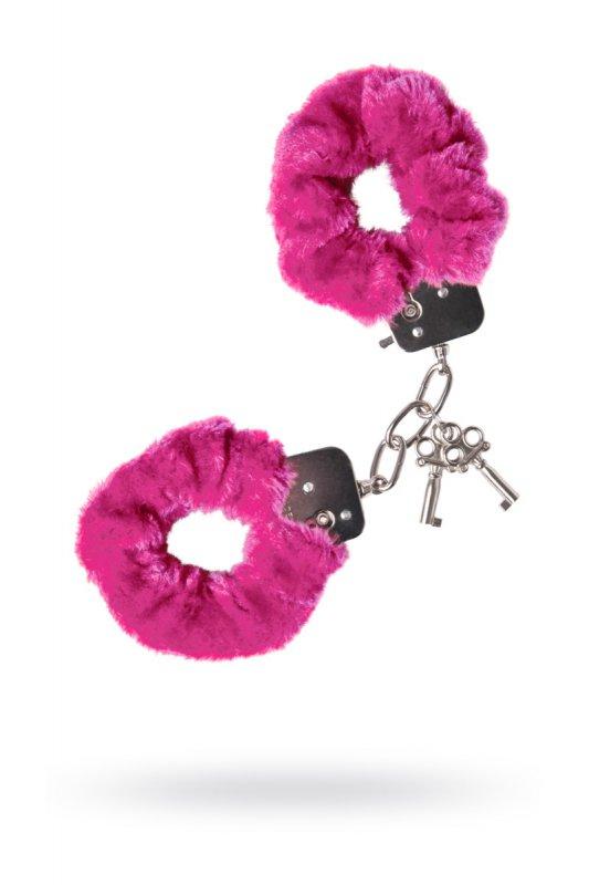 Металлические наручники с мехом TOYFA - розовый