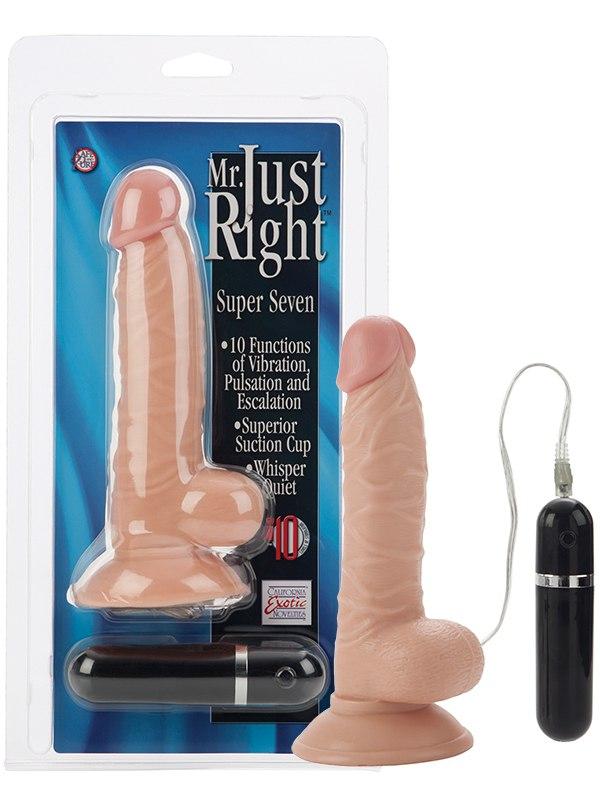 Реалистик с вибрацией и присоской Mr. Just Right Super Seven Dongs - телесный