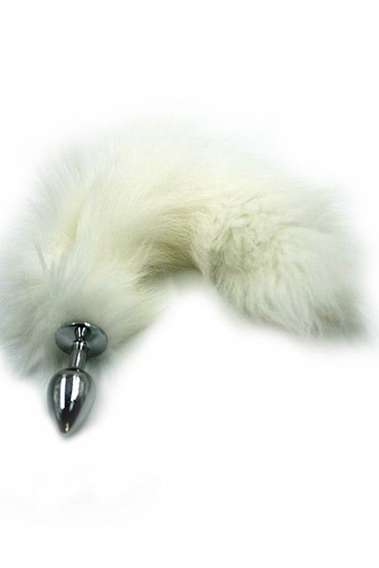 Маленькая алюминиевая анальная пробка Kanikule Small с хвостом из натурального меха – серебристый с белым luxurious tail анальная пробка с белым хвостом черная силиконовая