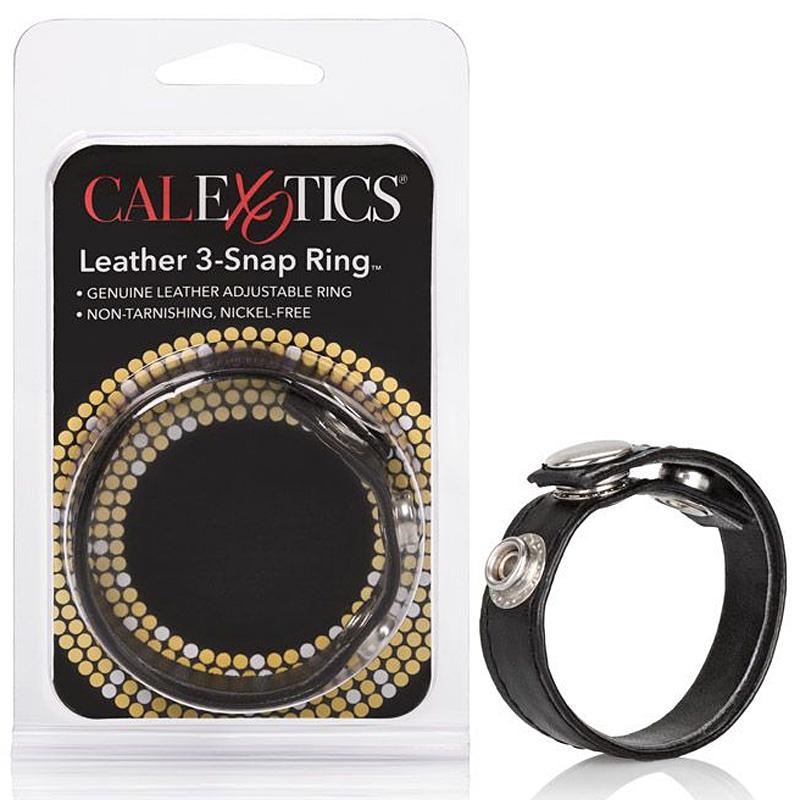 Кожаное кольцо на пенис 3-Snap Ring – черный