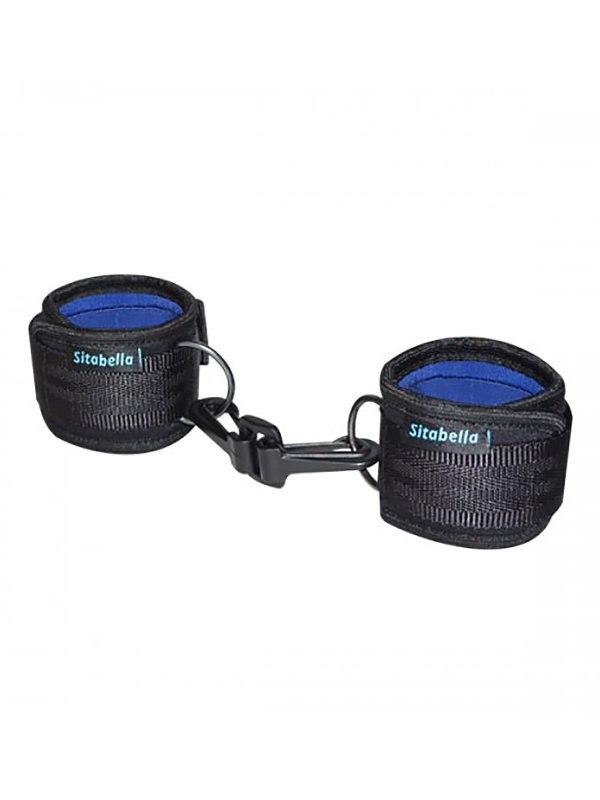 Неопреновые наручники Sitabella на липучках – черный с синим