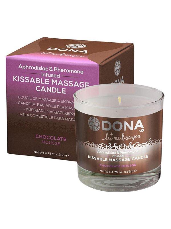 Вкусовая массажная свеча Dona Let Me Kiss You Chocolate Mousse – шоколадный, 135 г
