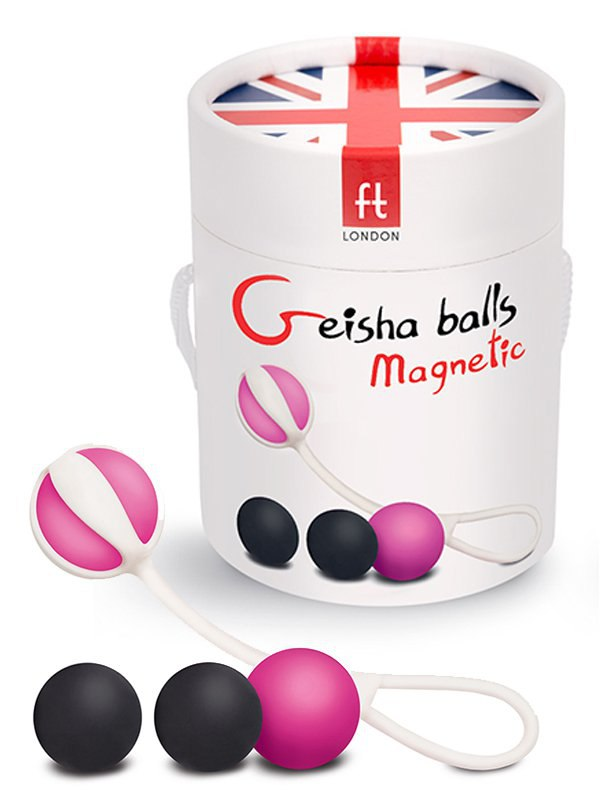 Магнитные вагинальные шарики Geisha Balls Magnetic – розовый с черным