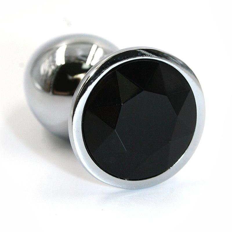 Большая алюминиевая анальная пробка Kanikule Large с кристаллом – серебристый с черным