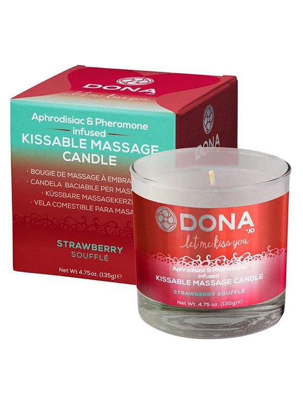 Вкусовая массажная свеча Dona Let Me Kiss You Strawberry Soufflé – клубничный, 135 г