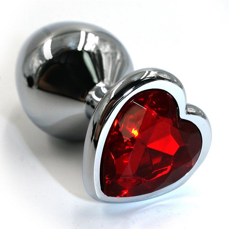 Средняя алюминиевая анальная пробка Kanikule Medium с кристаллом в форме сердца – серебристый с красным