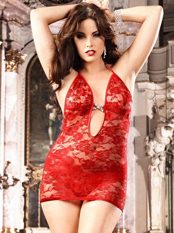 Красное кружевное мини-платье Barbie - Diva Size