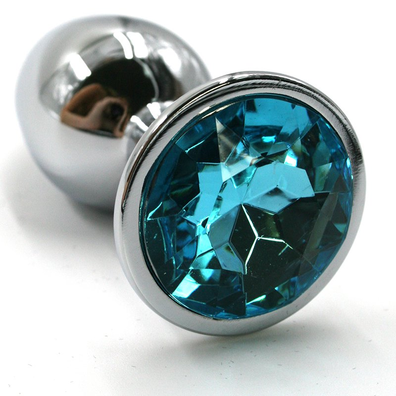 Средняя алюминиевая анальная пробка Kanikule Medium с кристаллом – серебристый с голубым
