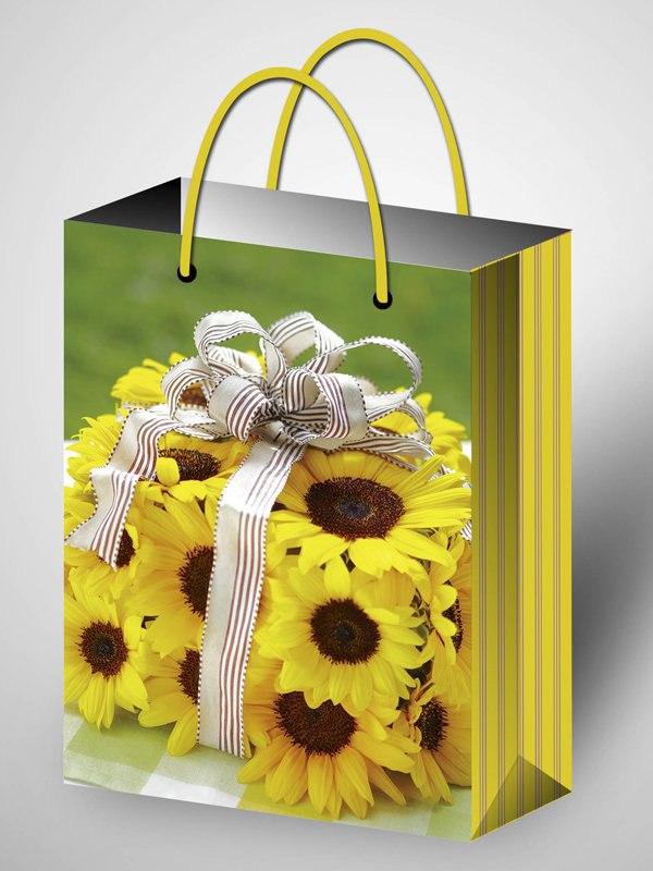 Пакет подарочный ламинированный с желтыми цветами (220*310*100)