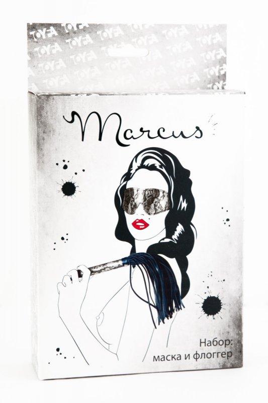 Кружевной набор маска и флоггер TOYFA Marcus – серебристый