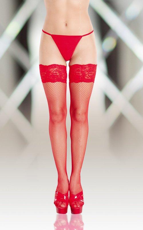 Красные чулки Softland 5517 в сетку  3 размер