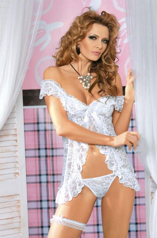 Белая кружевная сорочка и стринги Caprice Eva - L/XL