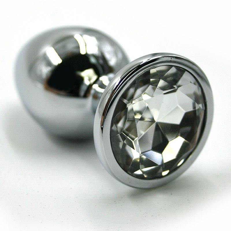 Большая алюминиевая анальная пробка Kanikule Large с кристаллом – серебристый с прозрачным анальная пробка большая силиконовая розовая синий страз