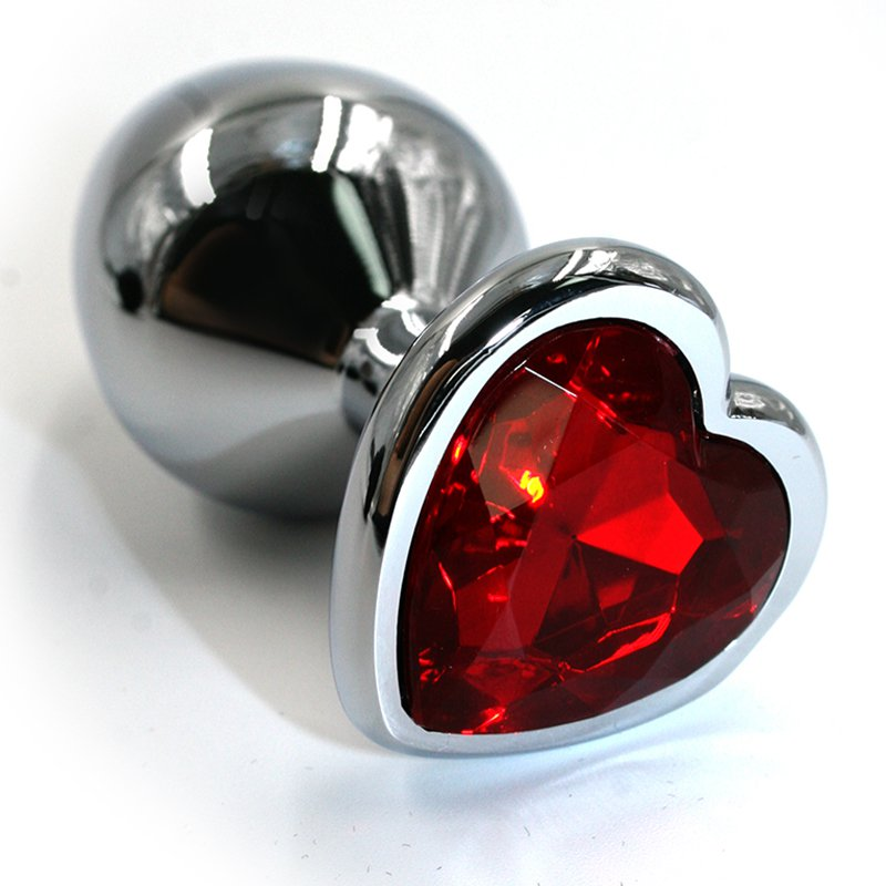 Маленькая алюминиевая анальная пробка Kanikule Small с кристаллом в форме сердца – серебристый с красным