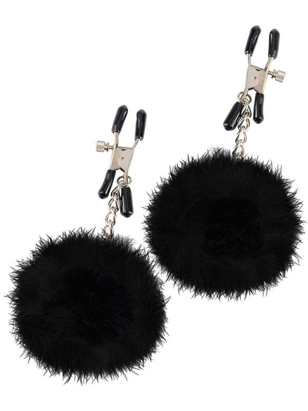 Зажимы на соски Pom Pom Nipple Clamps с пухом  черные (Pipedream, США)