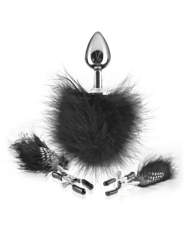 Pipedream Зажимы для сосков и анальная пробка с перышками Feather Nipple Clamps  черный