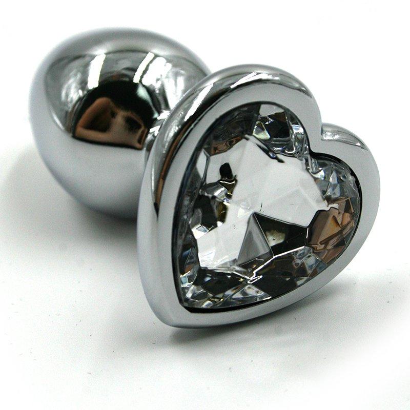 Маленькая алюминиевая анальная пробка Kanikule Small с кристаллом в форме сердца – серебристый с прозрачным