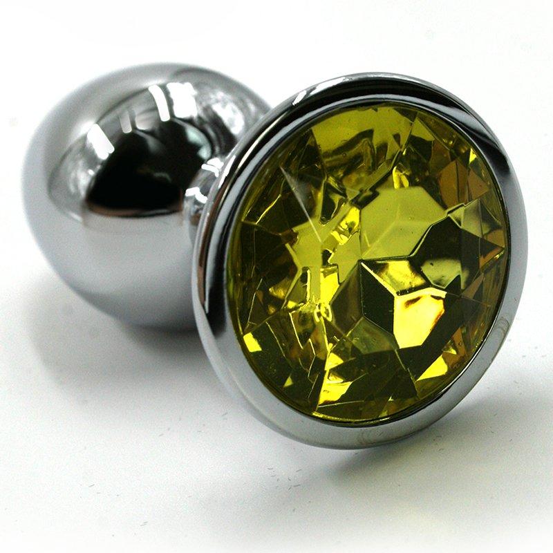 Маленькая алюминиевая анальная пробка Kanikule Small с кристаллом – серебристый с желтым