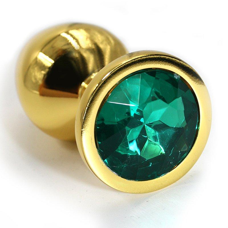 Средняя алюминиевая анальная пробка Kanikule Medium с кристаллом – золотистый с изумрудным