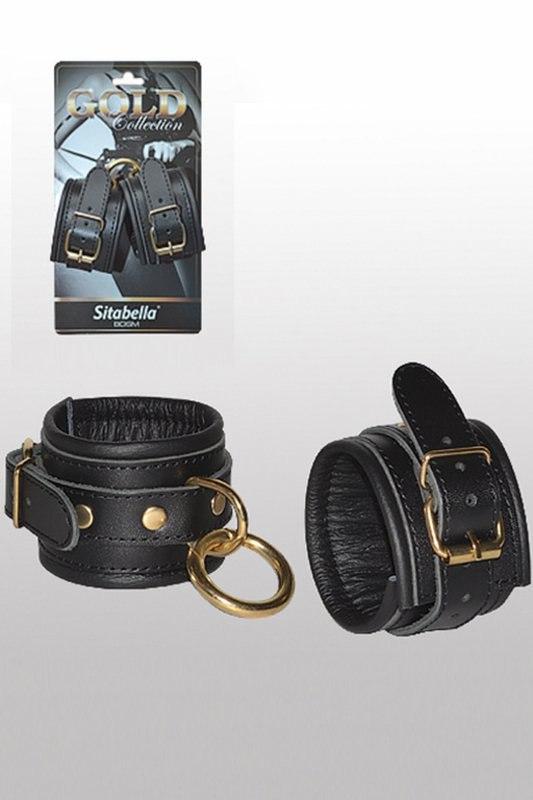 Кожаные наручники с круглым карабином Sitabella Gold Collection – черный с золотым