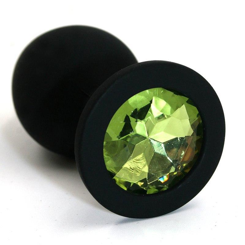 Средняя силиконовая анальная пробка Kanikule Medium с кристаллом – черный с зеленым