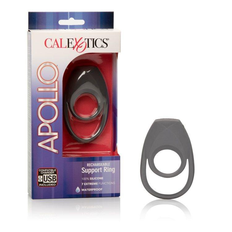 Эрекционное виброкольцо Apollo Rechageable с петлей для мошонки - черный