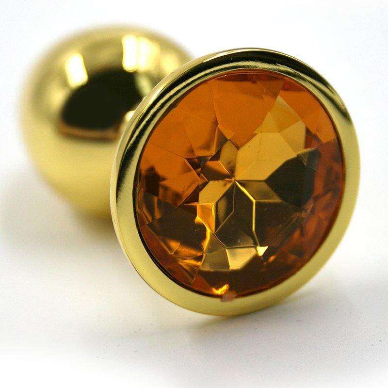 Средняя алюминиевая анальная пробка Kanikule Medium с кристаллом – золотистый с желтым