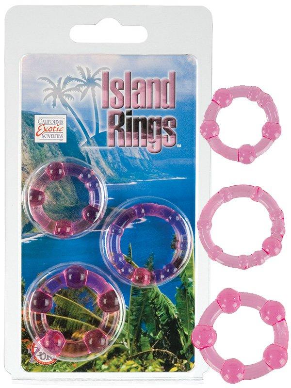 Комплект из 3-х эрекционных колец Island Rings – розовый