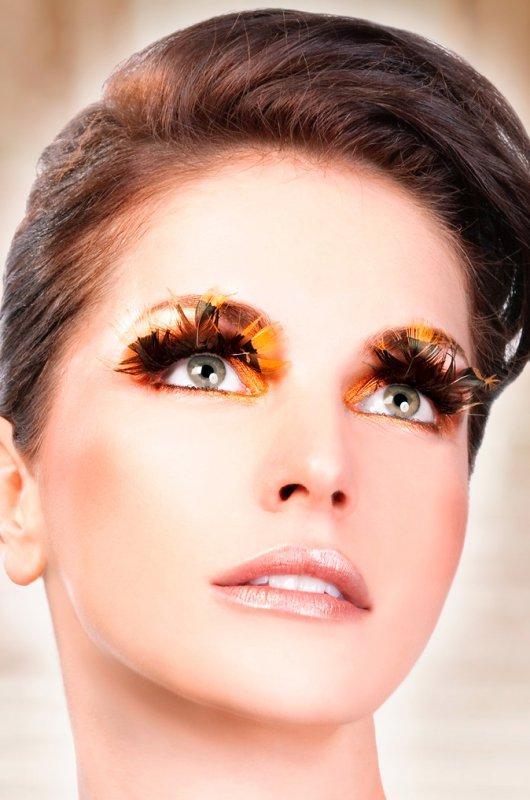 Ресницы перьевые Baci Султанка – коричневый с желтым