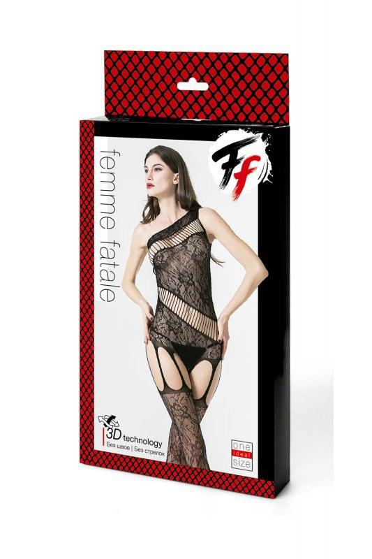 Кетсьюит на одно плечо с доступом и имитацией подвязок Femme Fatale - черный
