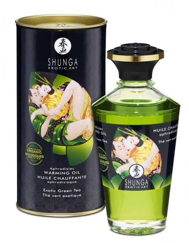 Съедобное разогревающее массажное масло Shunga Afrodisiac «Экзотический зеленый чай» - 100 мл