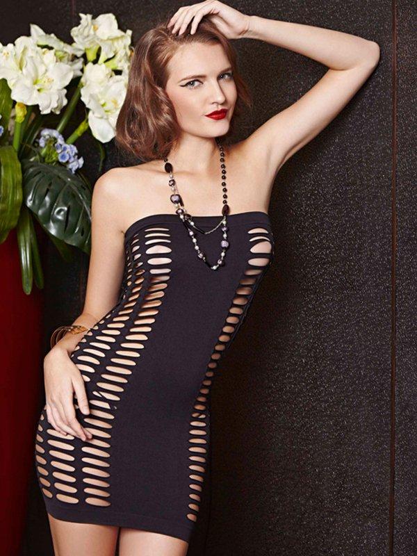 Облегающее мини платье без бретелек с ячейками (Temptlife) – черный