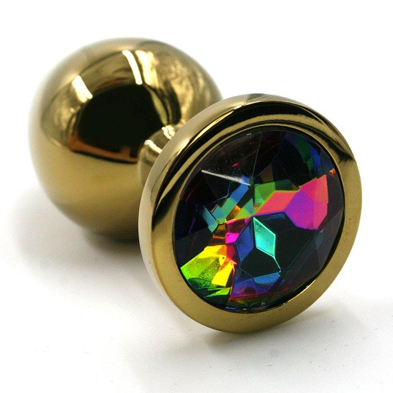 Средняя алюминиевая анальная пробка Kanikule Medium с кристаллом – золотистый с разноцветным