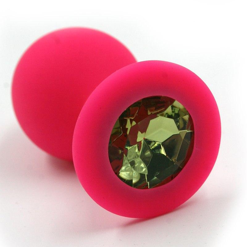 Средняя силиконовая анальная пробка Kanikule Medium с кристаллом – розовый с зеленым