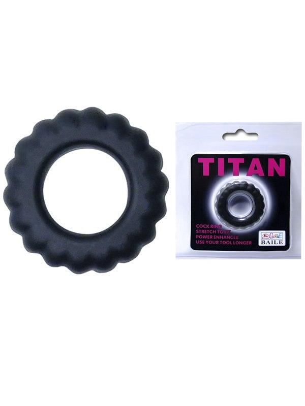 Эрекционное кольцо Titan с крупным рельефом – черный
