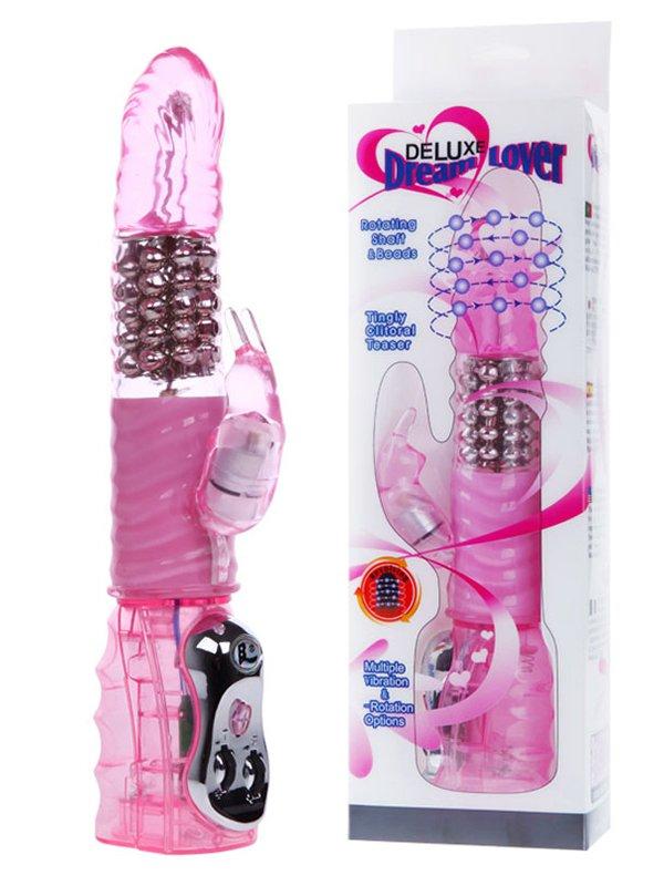 Хай-тек стимулятор двойного воздействия с вращающимися металлическими бусинами Deluxe Dream Lover – розовый
