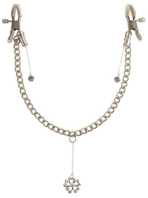 Зажимы на соски Crystal Nipple Clamps с украшениями - серебристый
