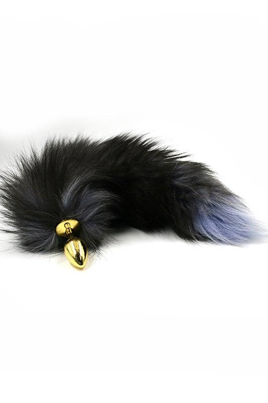 Маленькая алюминиевая анальная пробка Kanikule Small с хвостом из натурального меха – золотистый luxurious tail анальная пробка с белым хвостом черная силиконовая