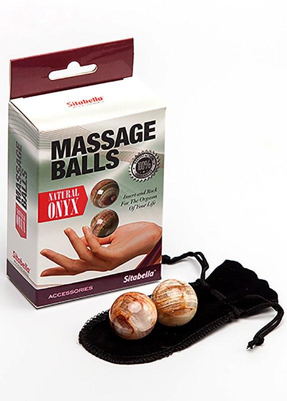 Вагинальные шарики Sitabella Massage Balls из натурального камня оникс