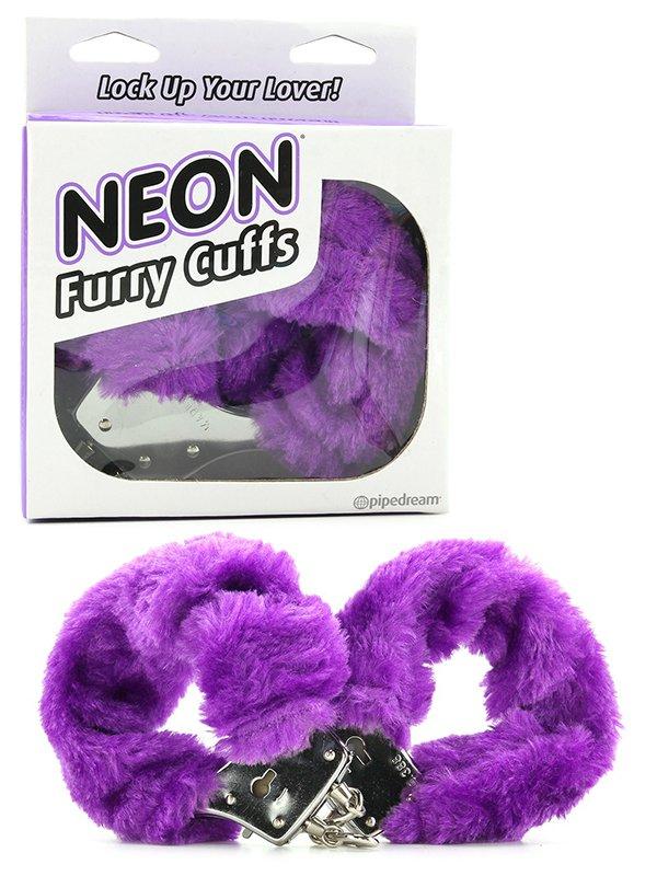 Меховые наручники Neon Furry Cuffs – фиолетовый
