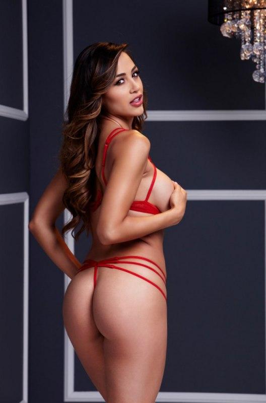 Сексуальный набор Baci White Label из бюстгальтера на ремешках с открытыми чашечками и трусиков – красный