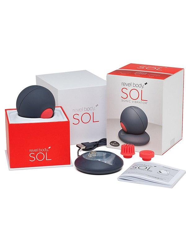 Магнитно-левитационный пульсатор Revel Body SOL с широким диапазоном вибрации – серый с красным