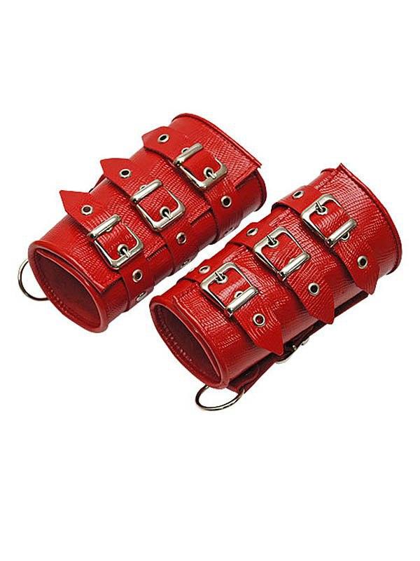 Кожаные манжеты Sitabella широкие – красный