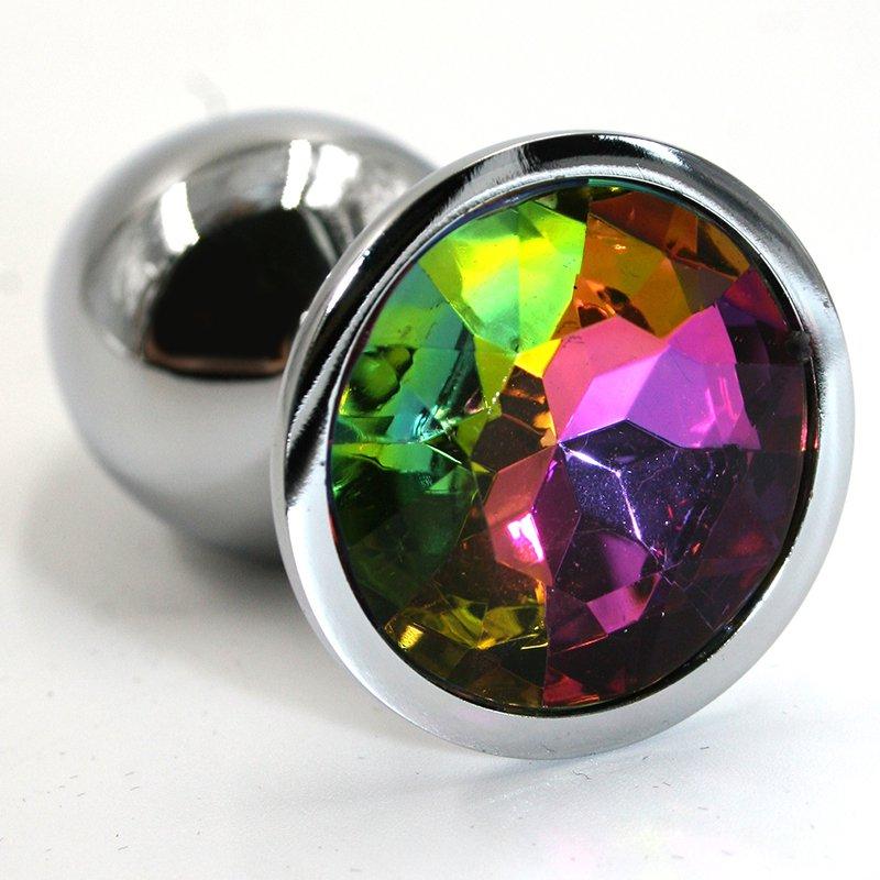 Маленькая алюминиевая анальная пробка Kanikule Small с кристаллом – серебристый с разноцветным