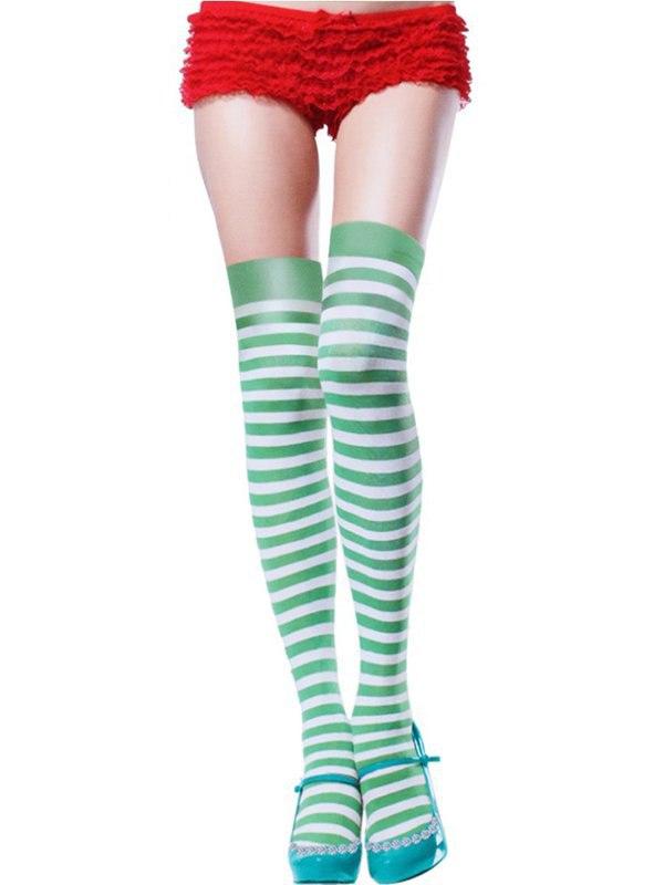 Полосатые чулочки (Temptlife) – зеленый с белым