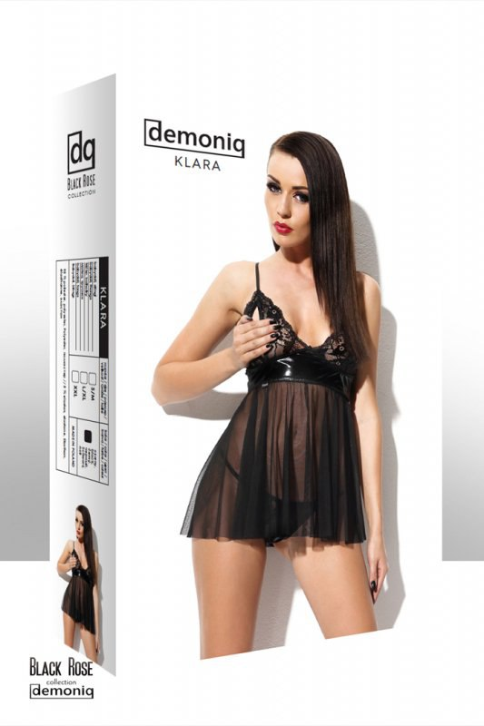 Комплект Demoniq Klara из коллекции Black Rose: сорочка и трусики - черный, S/M